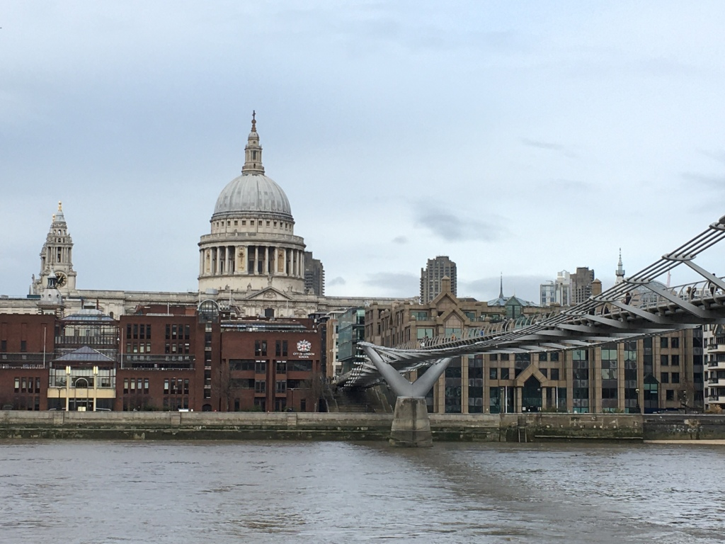 St Paul's Cathedral with the Millenium Bridge over the Thames in the foreground