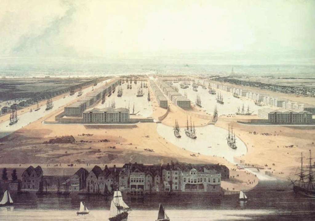 19th century painting of the West India Docks