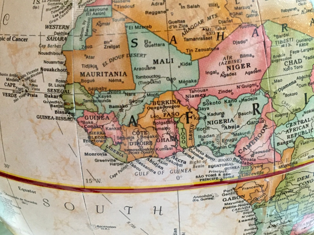 West Africa on an old globe