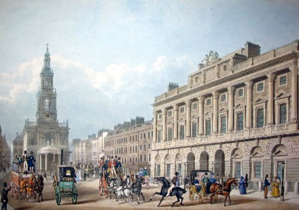 A Painting of Somerset House and St May's church in the Strand