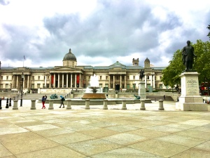Trafalgar Square from the south with the National Gallery in the background